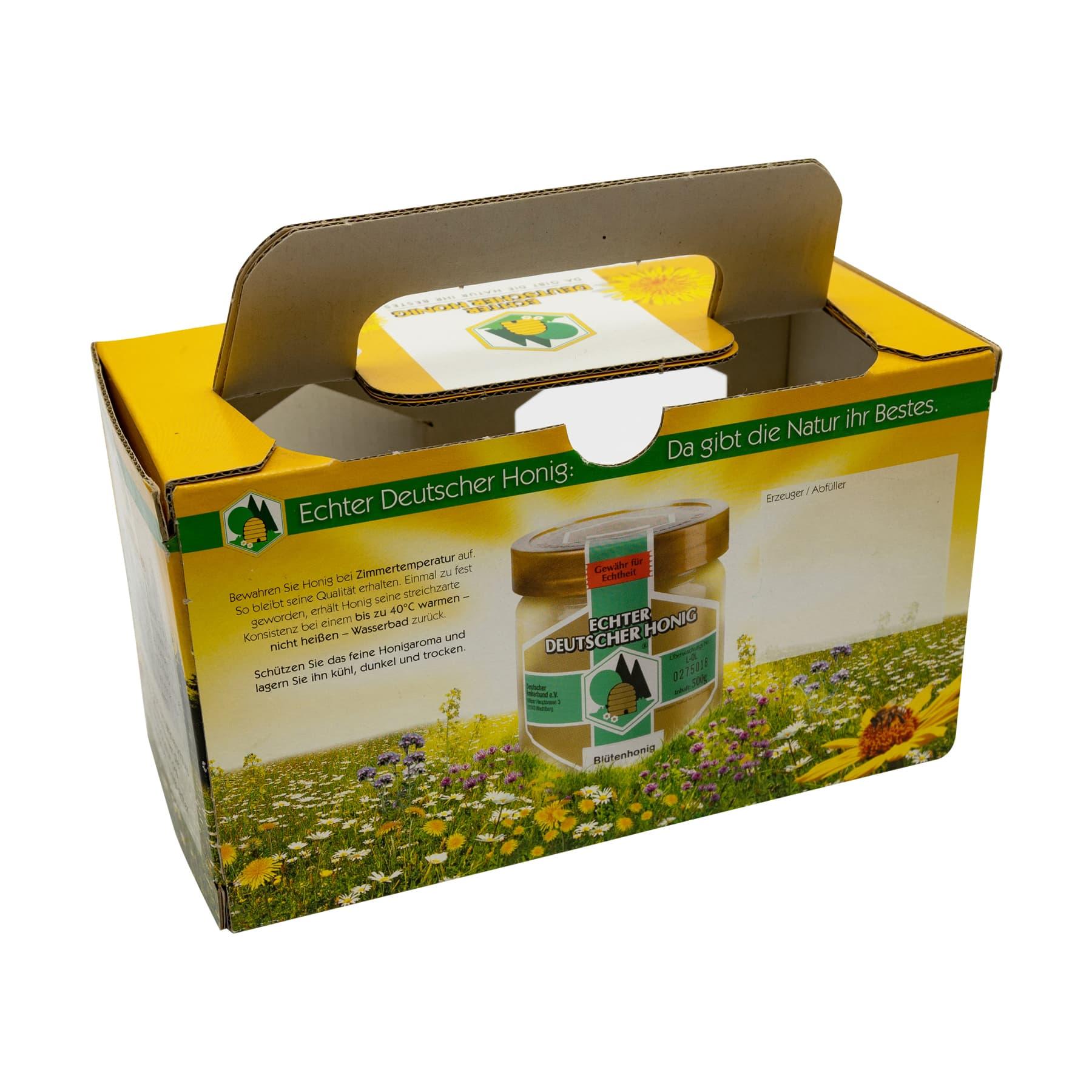 Kartonverpackung für 2 x 500 g Honigglas DIB