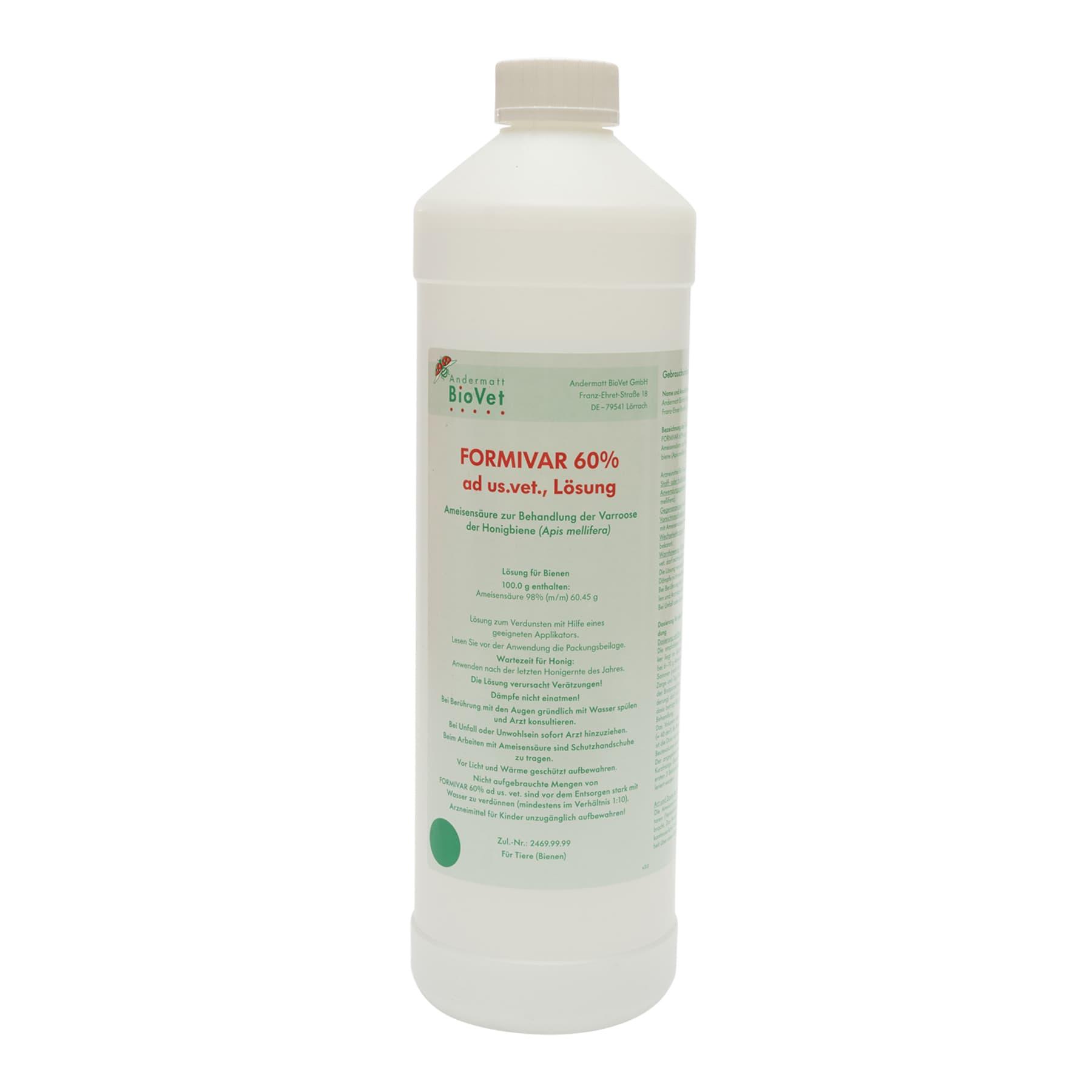 Ameisensäure 60 %  ad us. vet. Liter, Formivar Kunststoffflasche, (Hersteller Andermatt BioVet GmbH) wegen Gefahrgut nur zur Selbstabholung