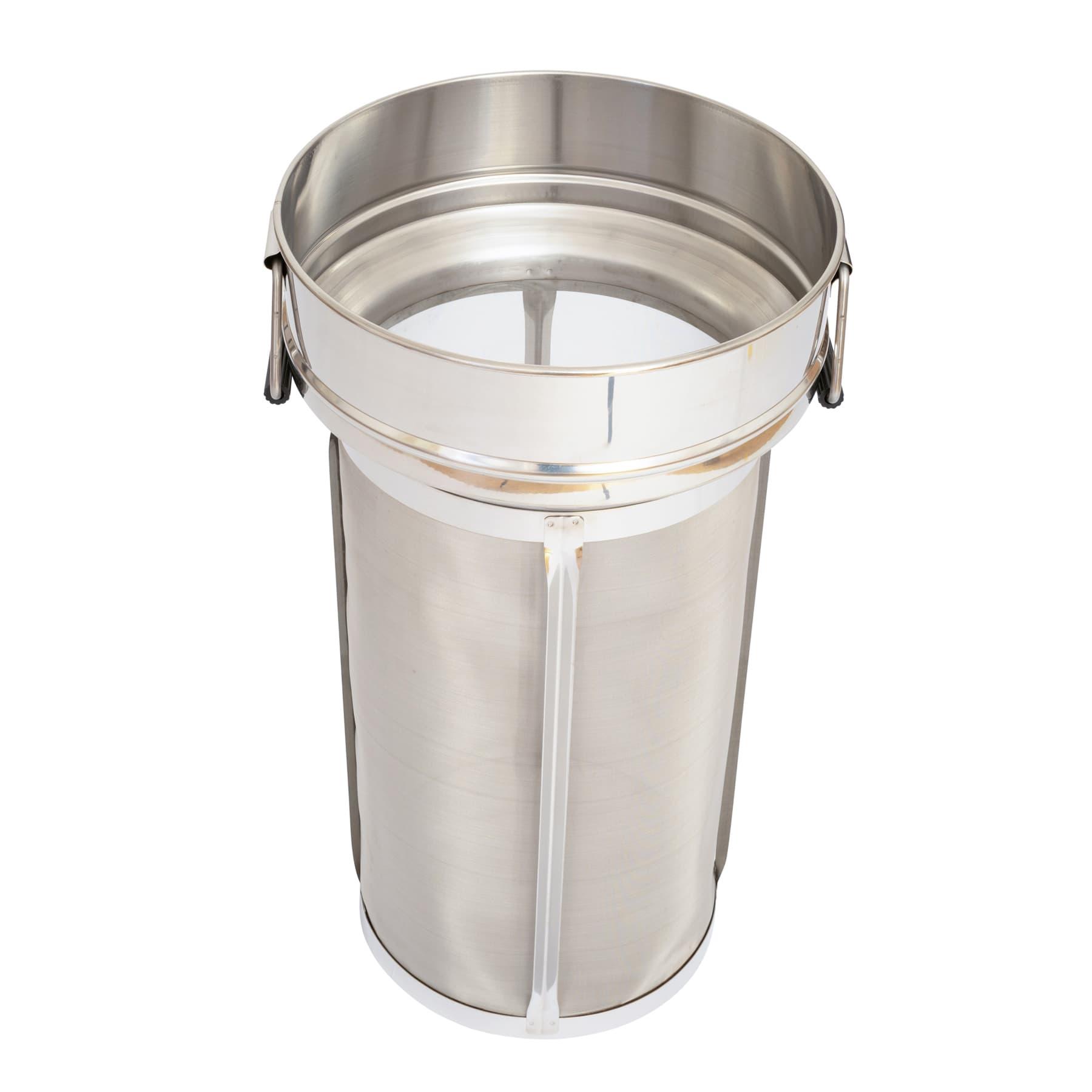 Zylindersieb / Feinfiltersieb zylindrisch aus Edelstahl mit Klappgriff für 50 kg Abfüllbehälter mit Abstellrost, Original Siegerland