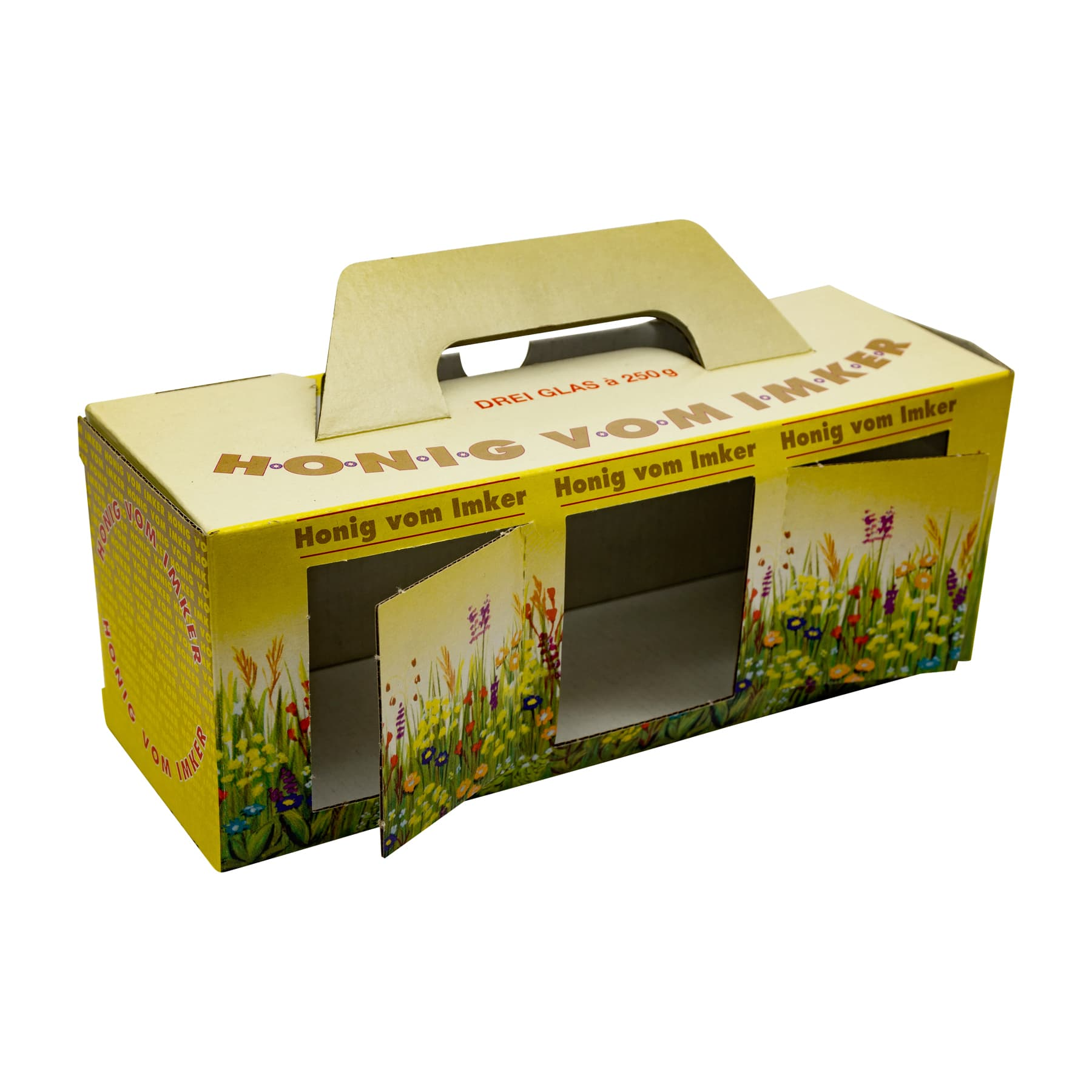 Kartonverpackung Blumenwiese für 3 x 250 g Honigglas
