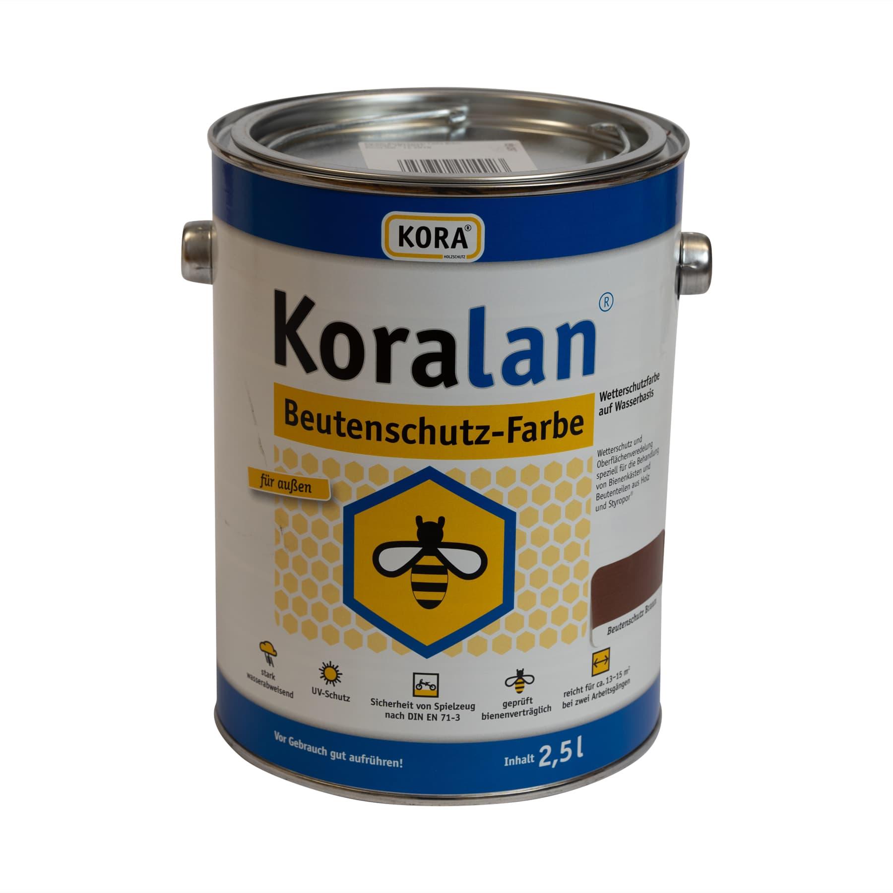 Koralan Beutenschutzlasur Nussbaum 2,5 l Eimer