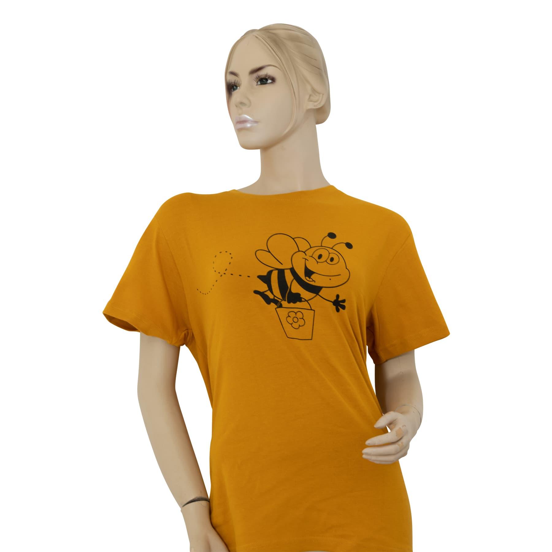 """T-Shirt """" Biene mit Honigeimer"""" gelb XL"""