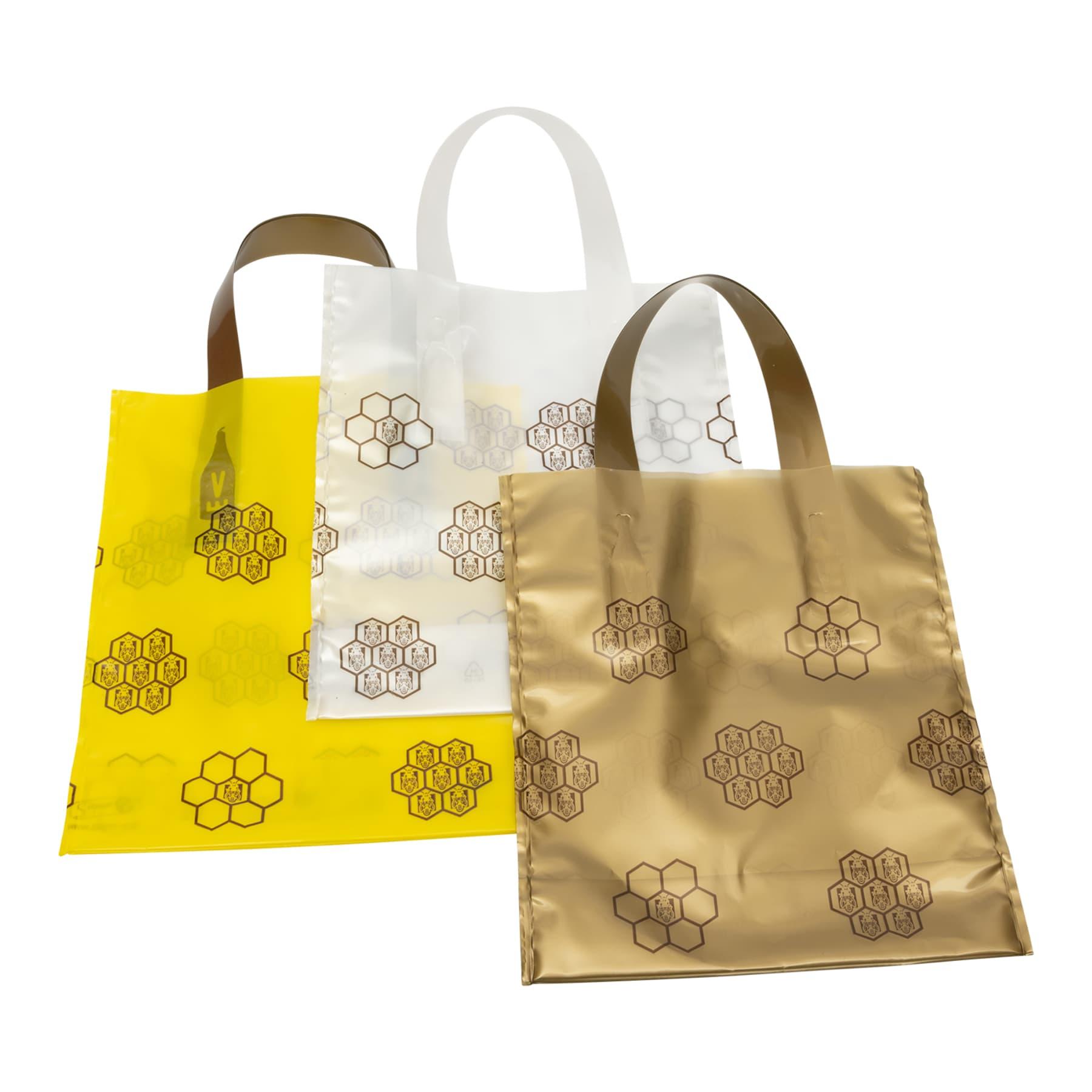 Geschenkbeutel 25 St. für 1 Glas Honig 500 g, dekorativer PE Beutel mit Wabenmuster verziert, Varianten gelb, gold weiß