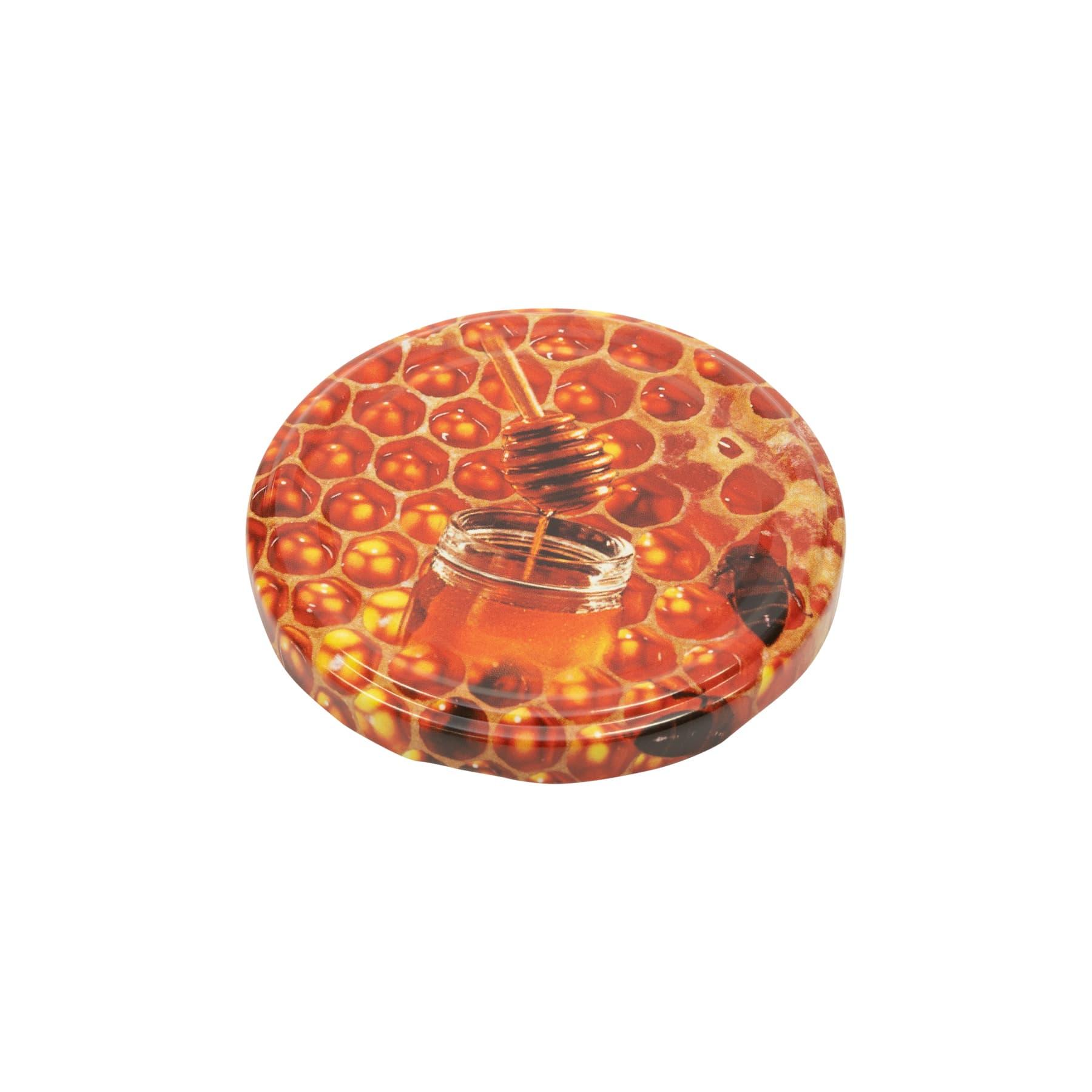 Twist Off Deckel Metall 82 mm, Honigglas auf rötlichen Honigwaben