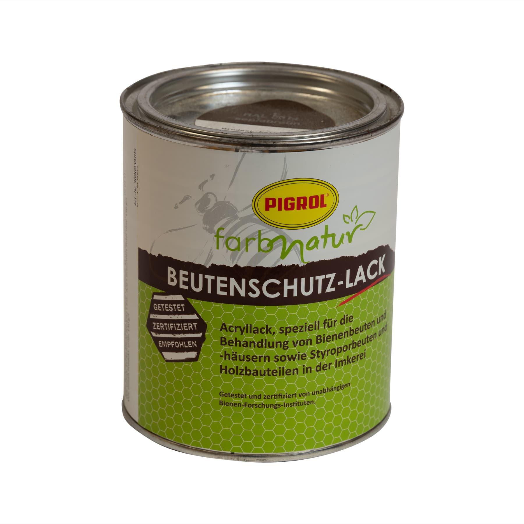 Sonderaktion: Pigrol Beutenschutzlack braun (Farbton ral 8014) 0,75 l für Holz und Styropor