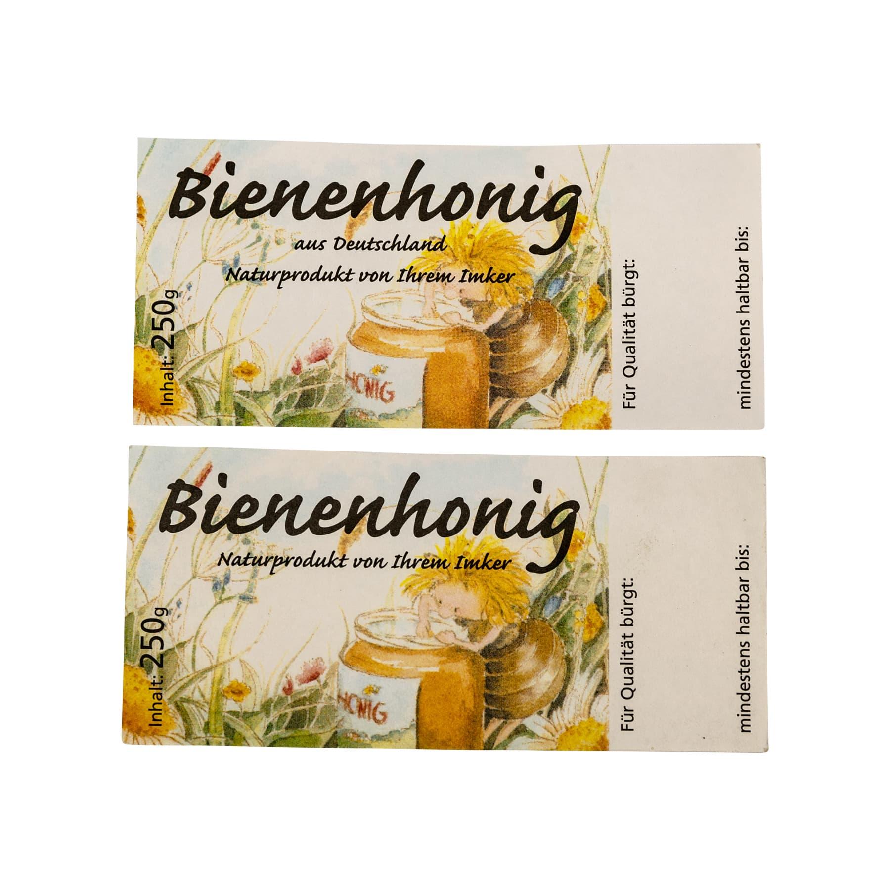 Honigetikett mit Schleckerbiene für 250 g Glas, nassklebend, 100 Stück