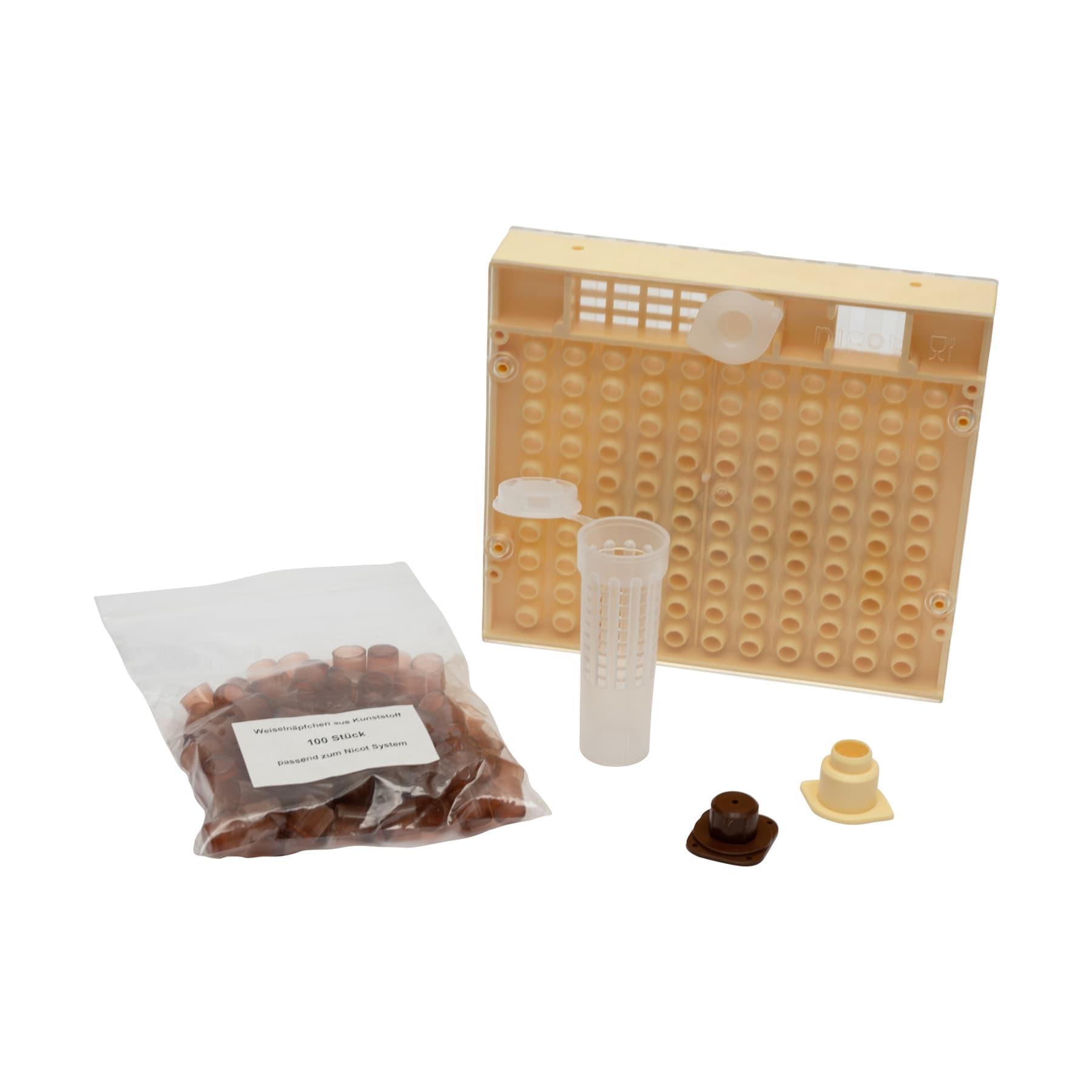 Nicot (NC) Zuchtsystem kompl., aus Zuchtkasette, 100 Weiselnäpfchen, 30 Sockel, 30 Napfhalter, 30 Schlupfkäfigen