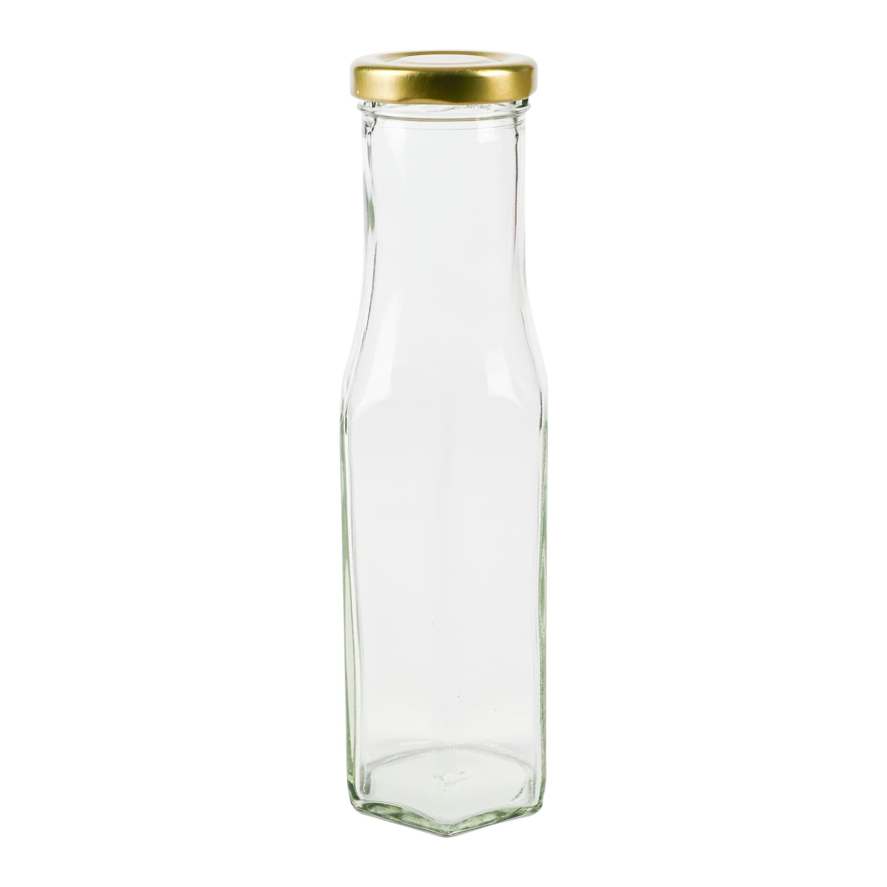 Hexagonalflasche 250 ml weiß (transparent) mit 43 T0 Deckel gold