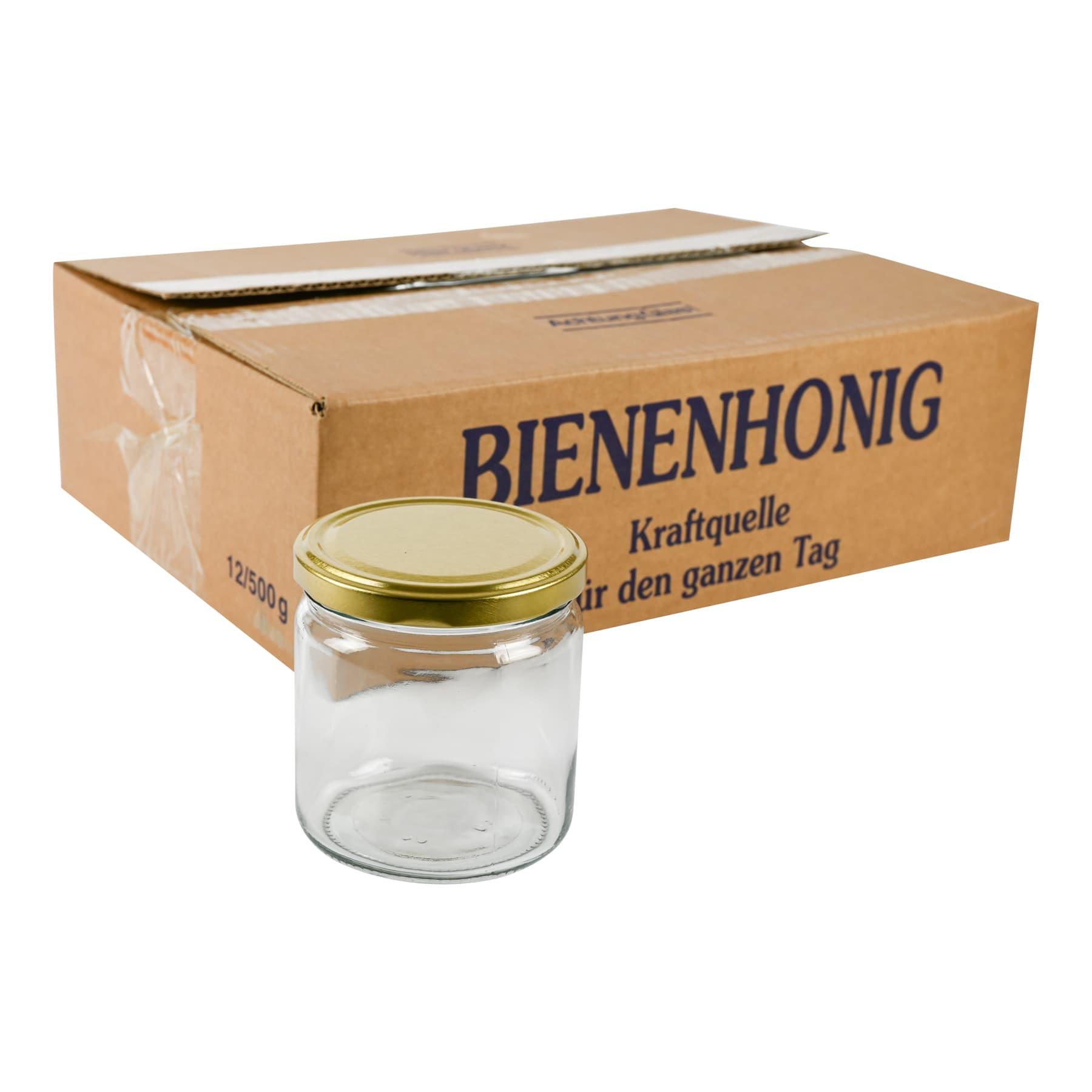 Rundglas 500 g TO ohne Deckel im 12er Karton 2244 Gläser = 1 Pal