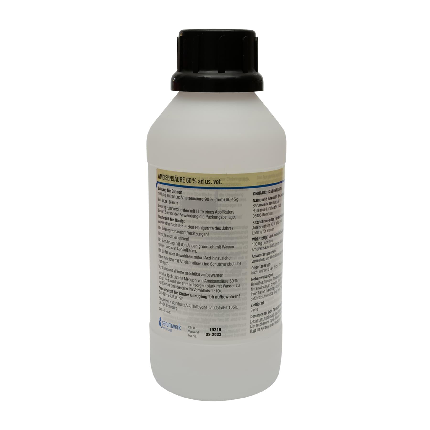 Ameisensäure 60 %  ad us Vet Liter, Kunststoffflasche, (Hersteller Serumwerke) wegen Gefahrgut nur zur Selbstabholung