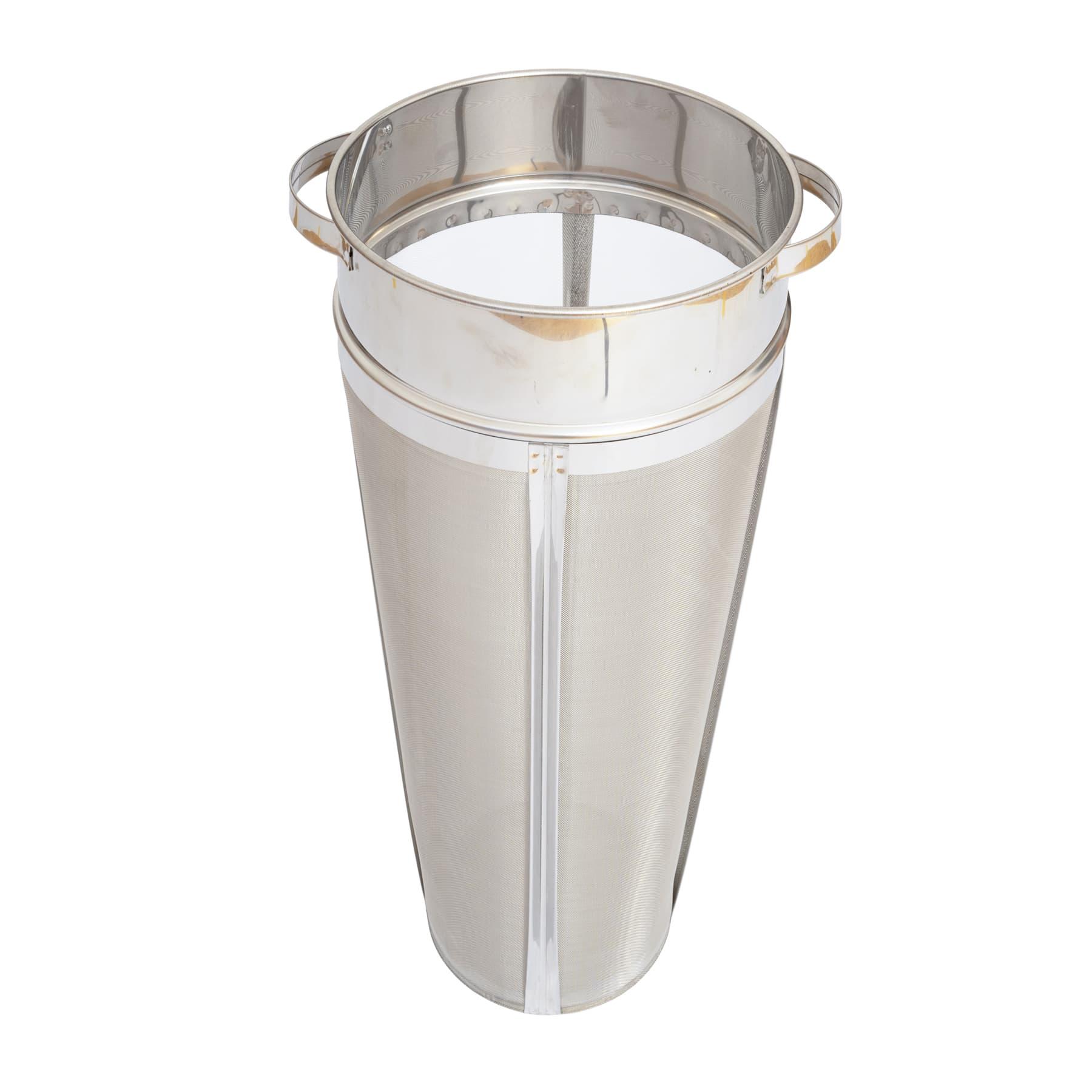 Zylindersieb / Feinfiltersieb aus Edelstahl für 50 kg Abfüllbehälter konisch  Original CFM mit festen Griffen