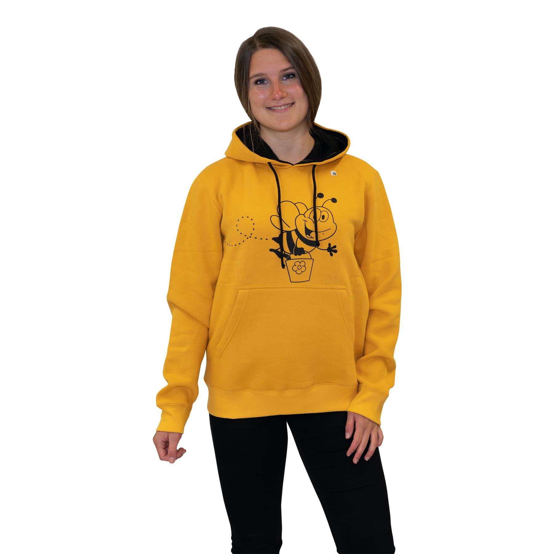 """Hoodie """" Biene mit Honigeimer"""" gelb S"""