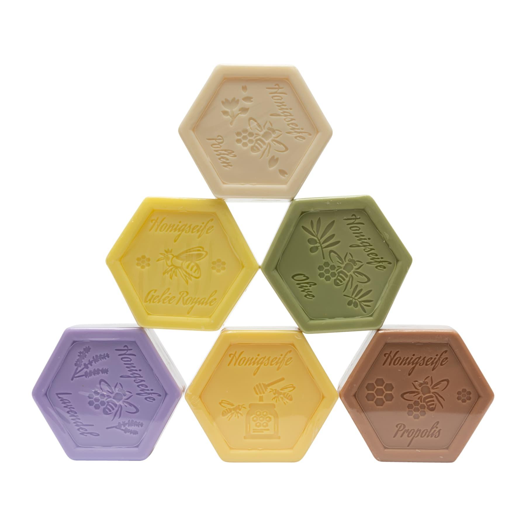 Testauswahl  30 Sechseckseifen 100 g - je 5 Seifen der 6 verschiedenen Sorten zum Angebotspreis (€ 0,95 / 100 g)