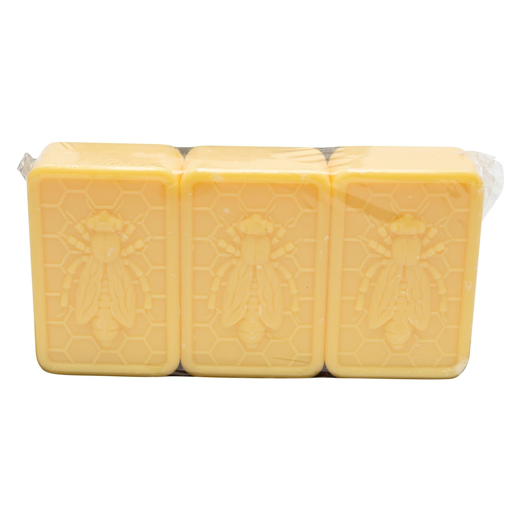 3 Honig-Lanolin-Seifen mit Bienendekor 100 g,  zu 3 Stück verpackt, 300 g