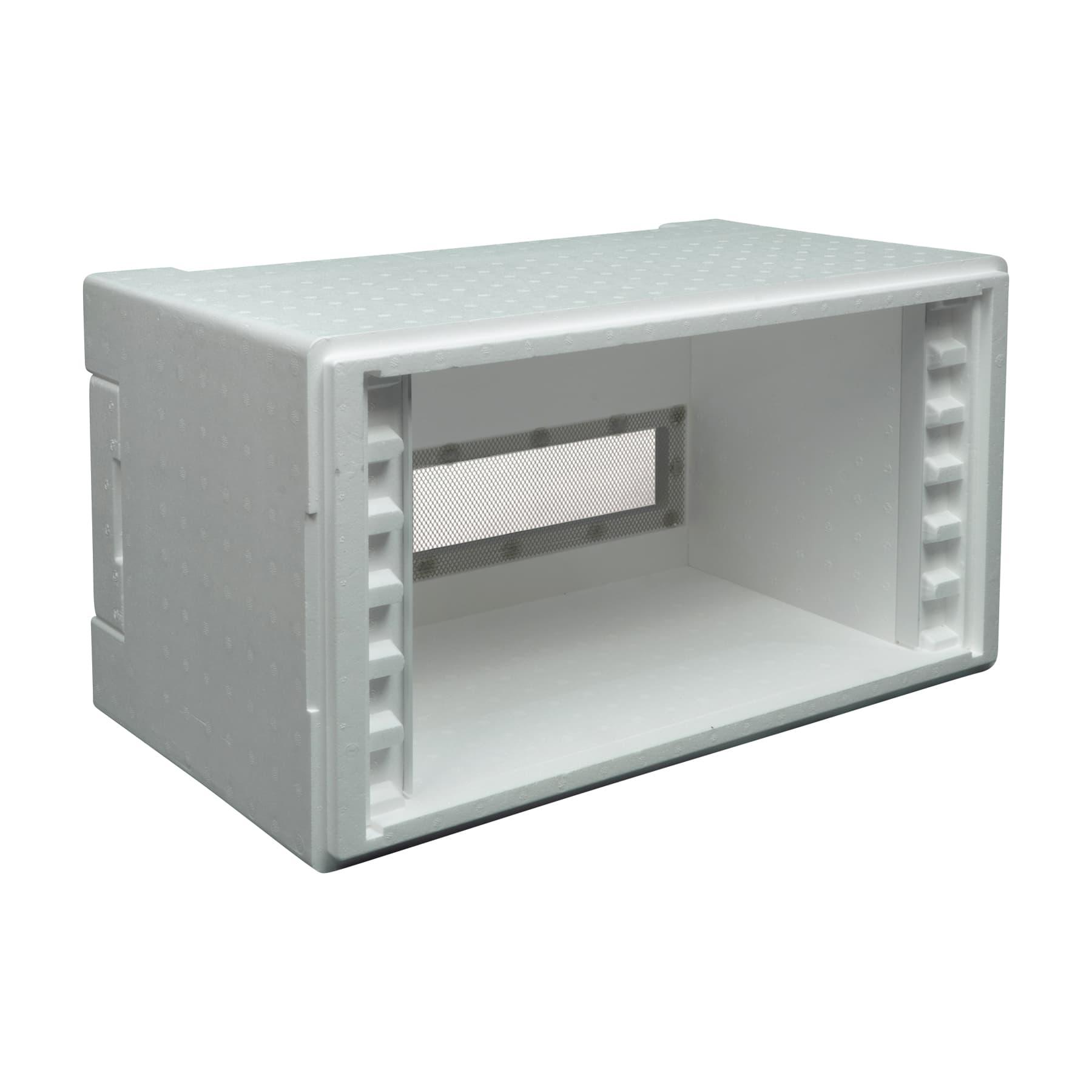 Stehr Ablegerkasten Simplex 6 Waben aus Styropor, einschiebbares Flugbrett, Auflageleisten aus Kunststoff und Deckel