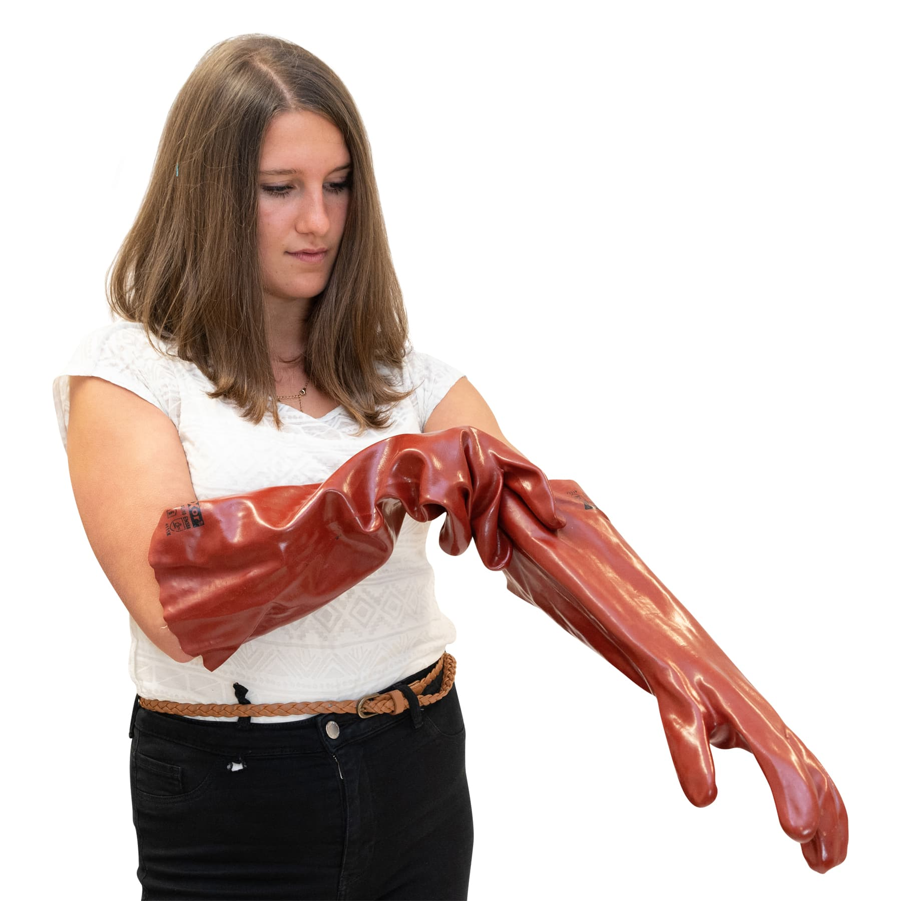 PVC-Handschuhe, rotbraun 45 cm lang 1 Paar Art. 2173