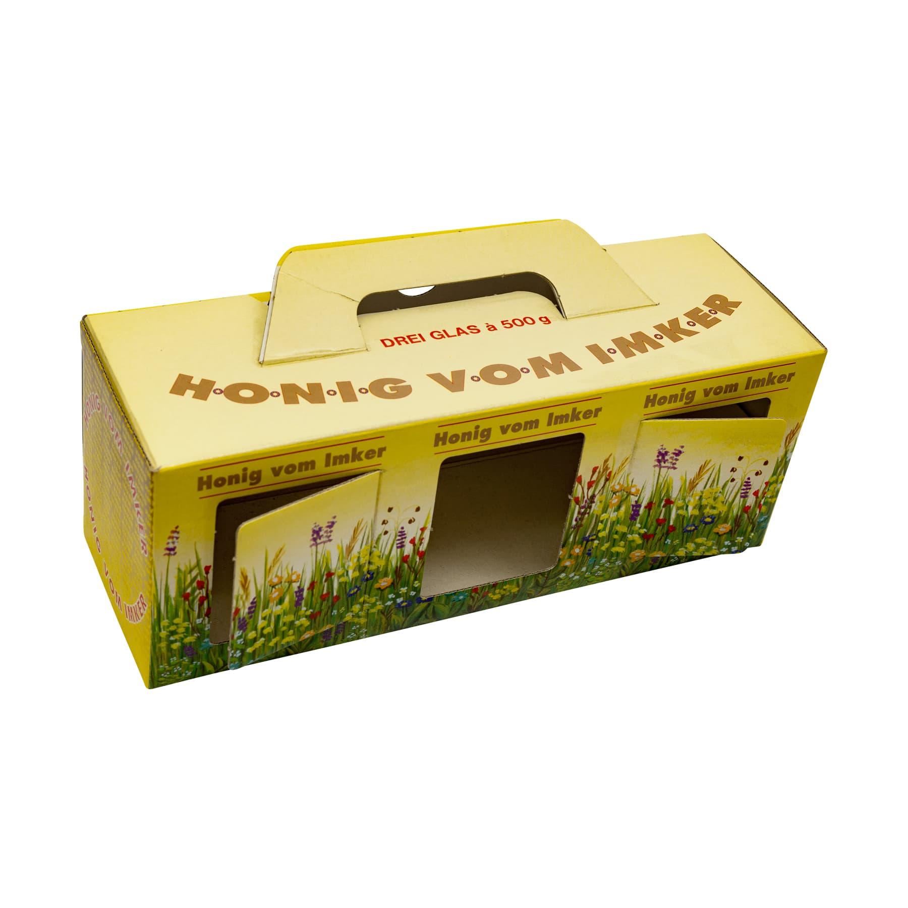 Kartonverpackung Blumenwiese für 3 x 500 g Honigglas