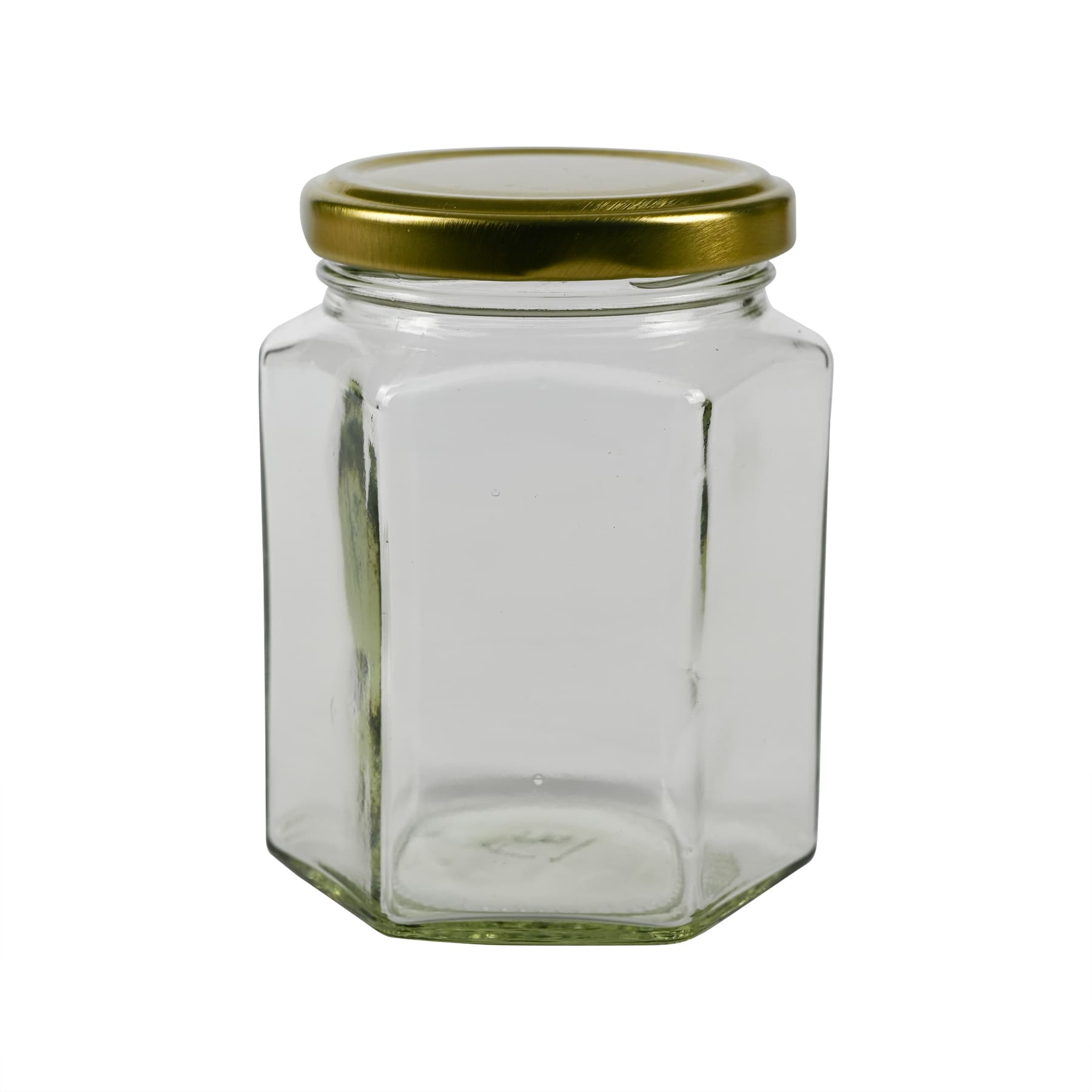 Sechseckglas 375 g (295 ml) mit TO Metalldeckel 63