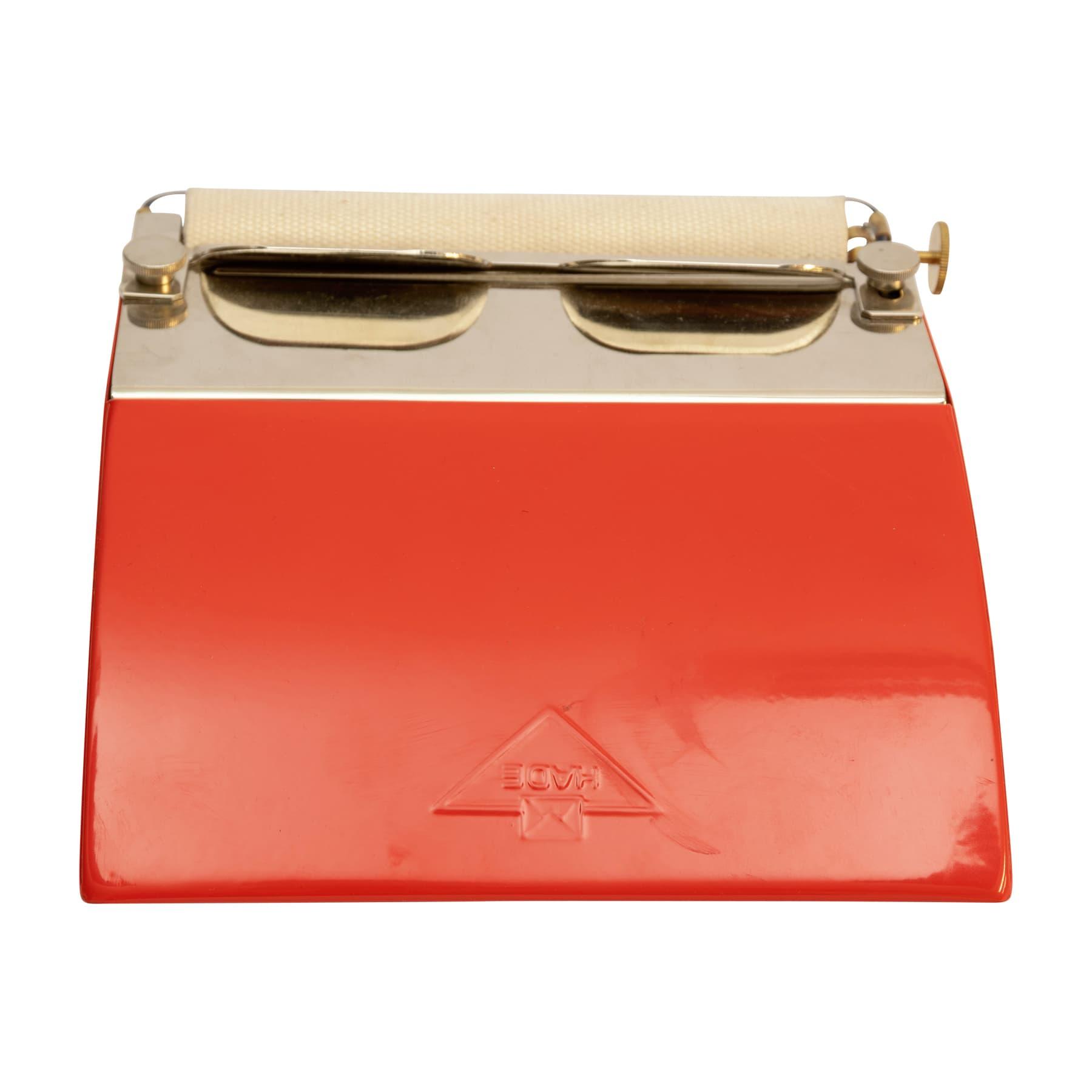 Beleimungsgerät / Etikettenbefeuchter / Etikettierer aus rot lackiertem Metall