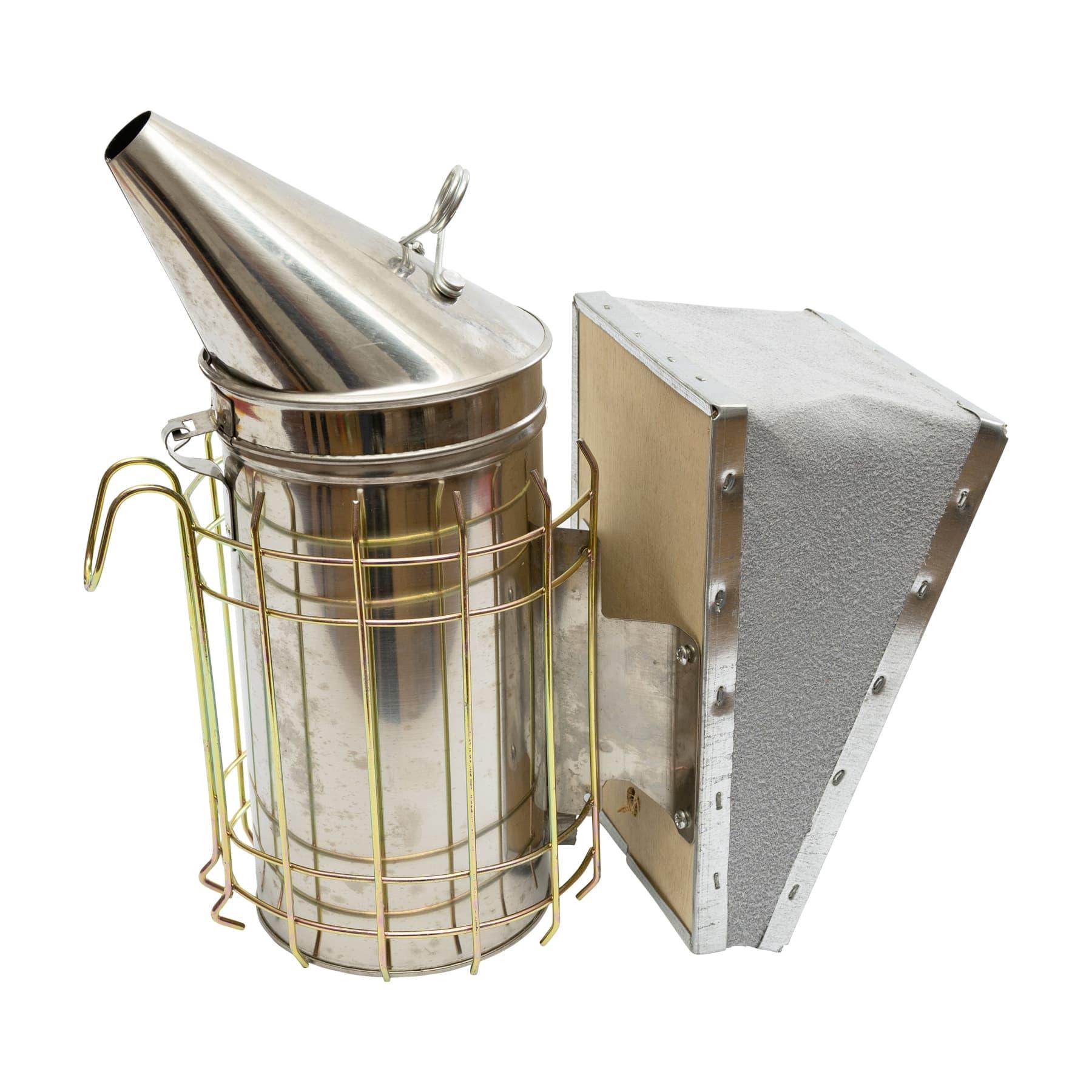 Edelstahl-Ami-Smoker, 10 cm Durchmesser mit gelochtem Innenfuß u. Lederblasebalg