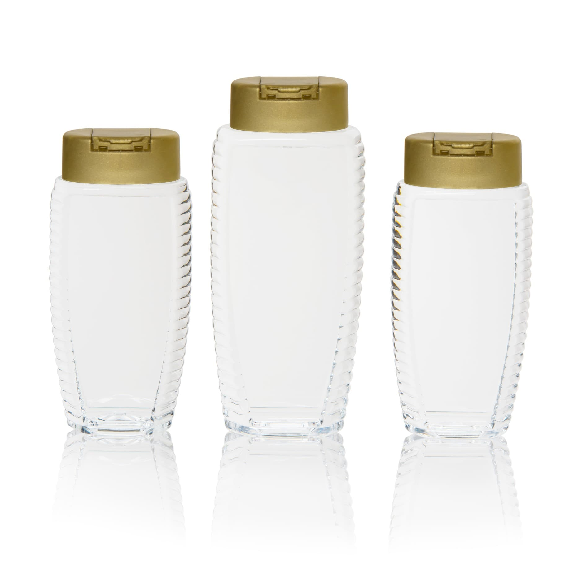 Squeezi-Bee PET Flasche oval, 350 g, Mündung 25 mm inkl. Snap-On Verschluß