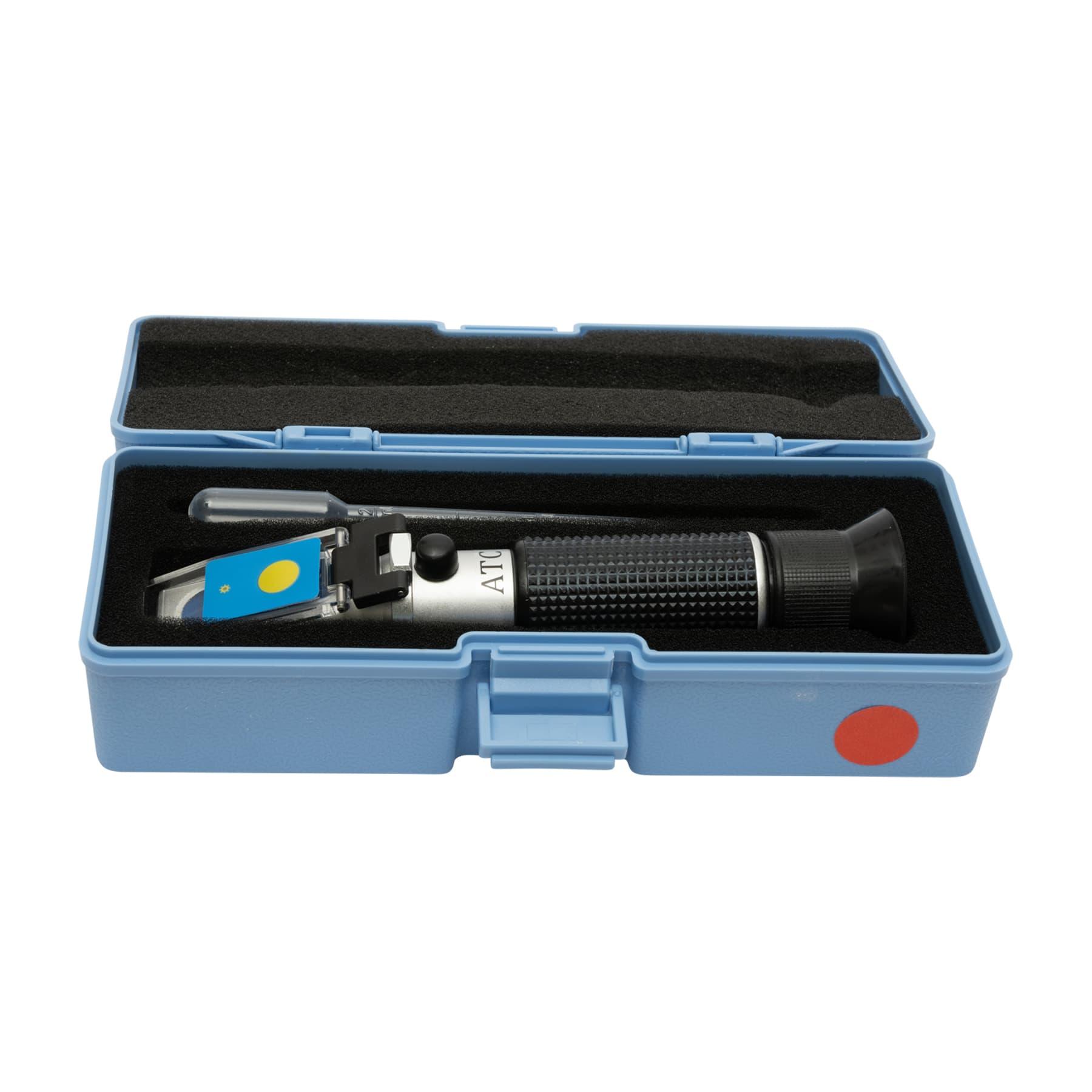 Honigrefraktometer mit LED-Beleuchtung und  ATC in grau-blauem gut schützendem Kunststoff-Etui