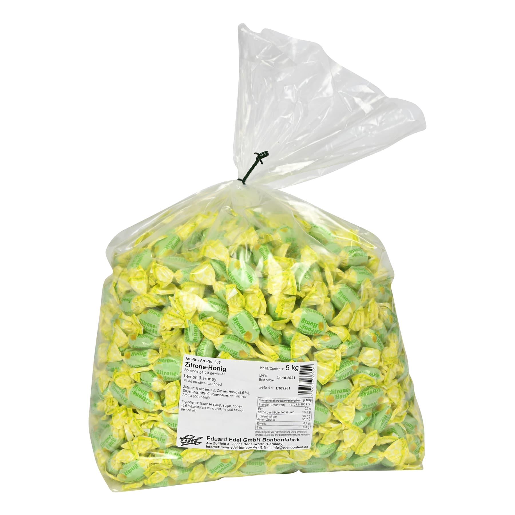 Honigbonbon mit Zitrone gefüllt, im 5 kg Beutel