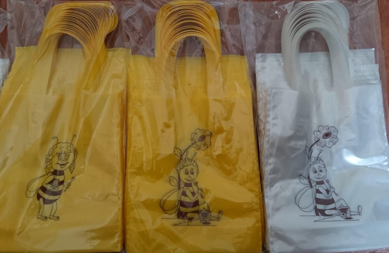 Geschenkbeutel 25 St. für 1 Glas Honig 500 g, dekorativer PE Beutel mit Biene (Mädchen oder Junge) verziert, Varianten gelb, weiß