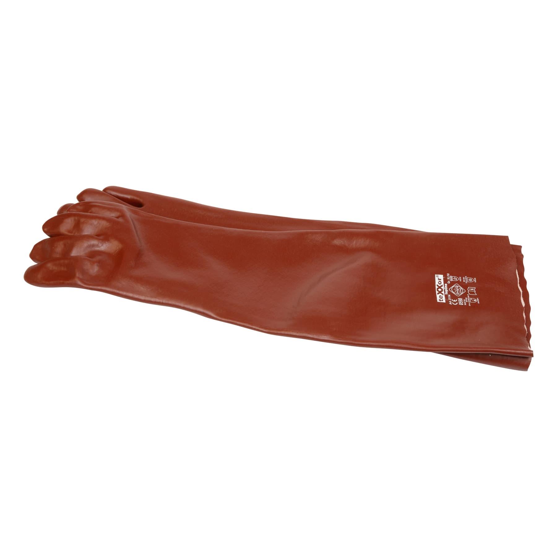 Chemikalienschutz-Handschuhe (Säureschutzhandschuhe), PVC rotbraun, ca. 58 cm lang 1 Paar Art. 2114