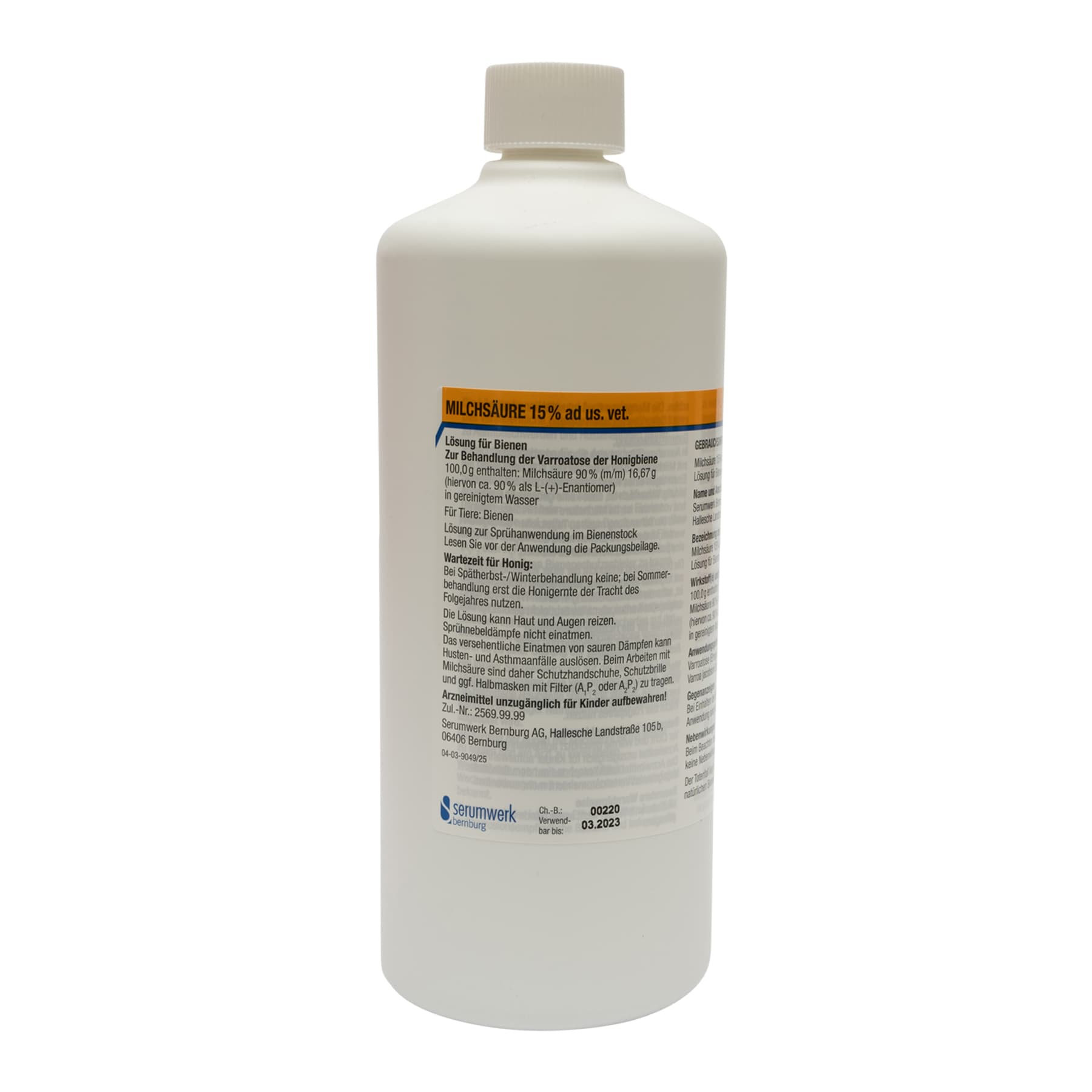 Milchsäure us vet 15 % . 1 l Kunststoffflasche
