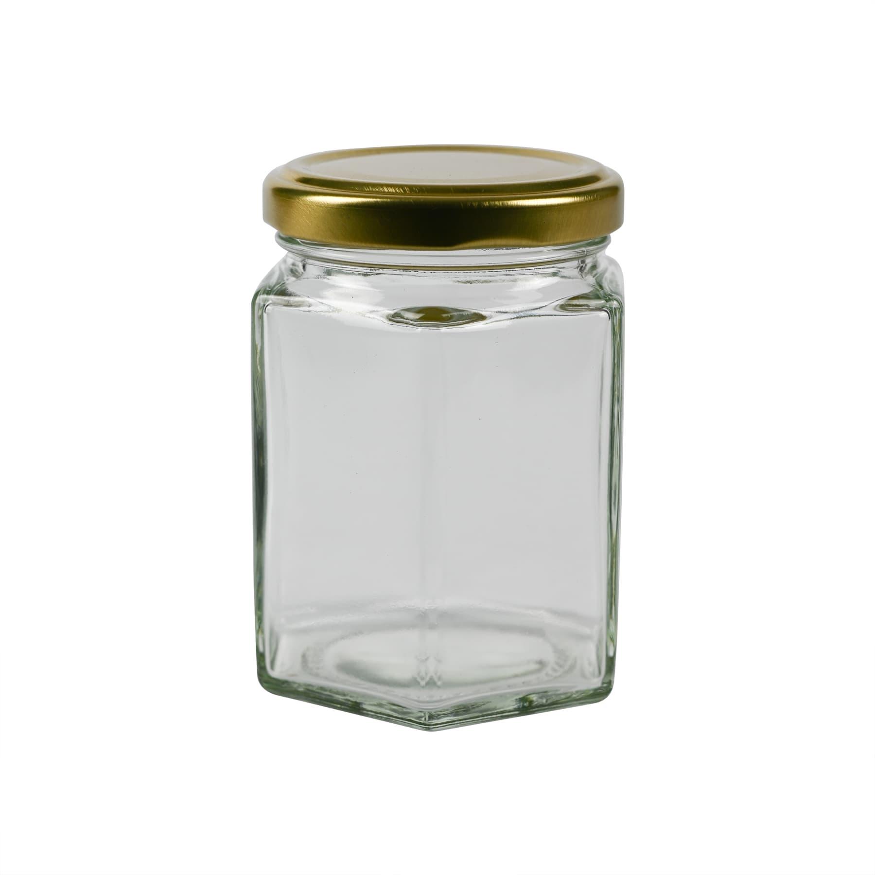 Sechseckglas 250 g (191 ml) 1 PAL(3367 Stk.) inkl. TO Metalldeckel gold 58mm, lose, FREI HAUS
