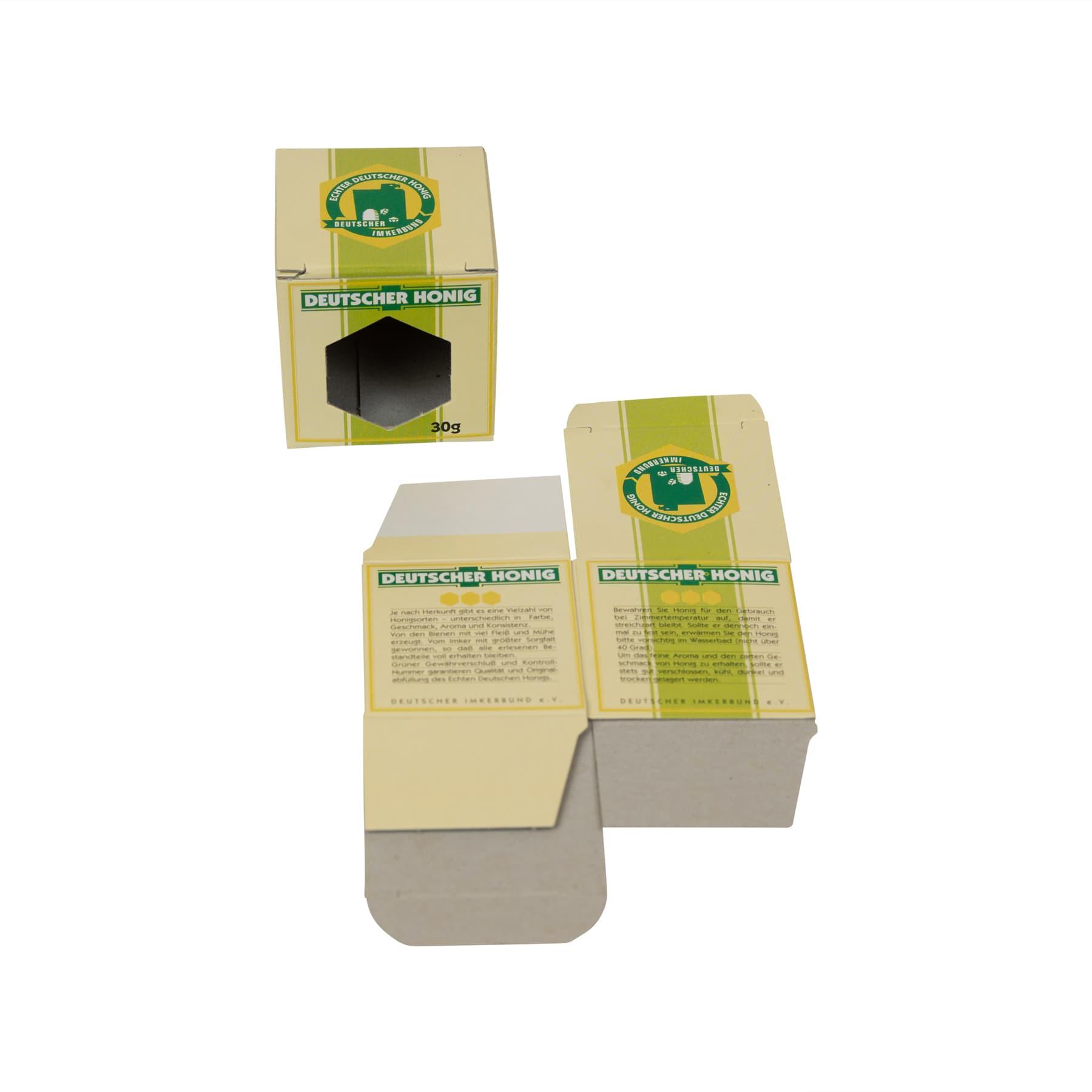 Kartonverpackung für 1 x   30 g Honigglas DIB