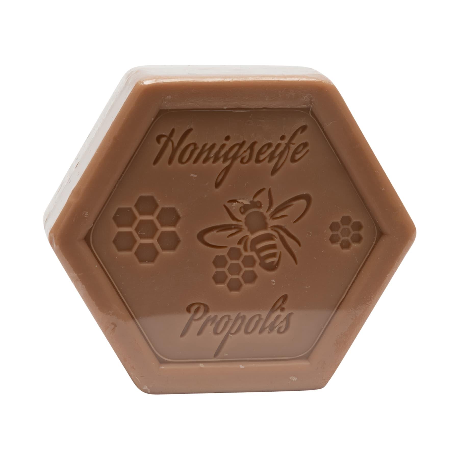 Honigseife mit Propolis100 g in Sechseckform, foliert und etikettiert