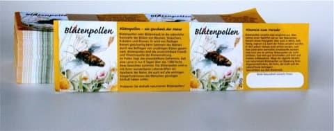 Etikett Blütenpollen, nassklebend, für 250 g Glas, 100 Stück