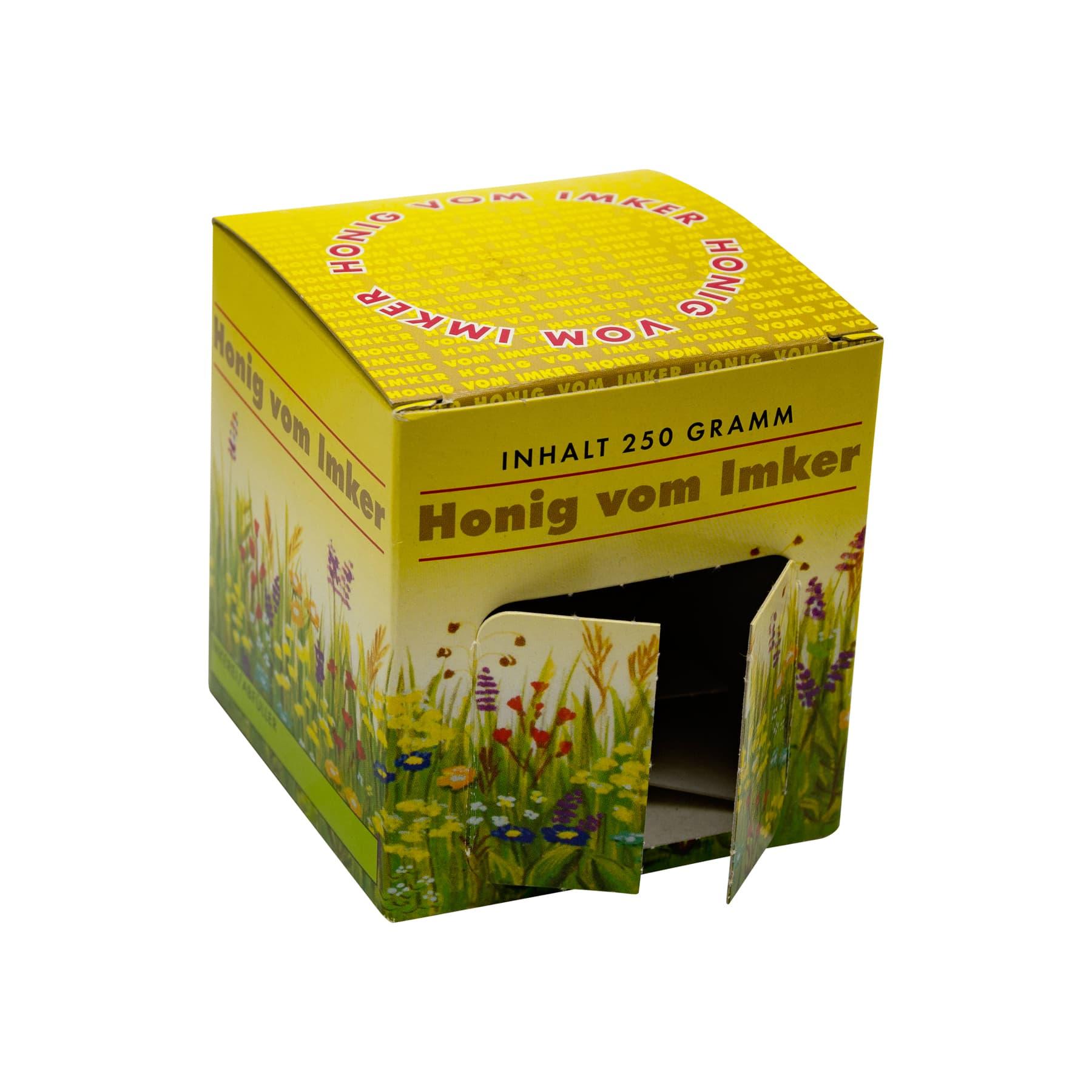 Kartonverpackung Blumenwiese  für 1 x 250 g Honigglas