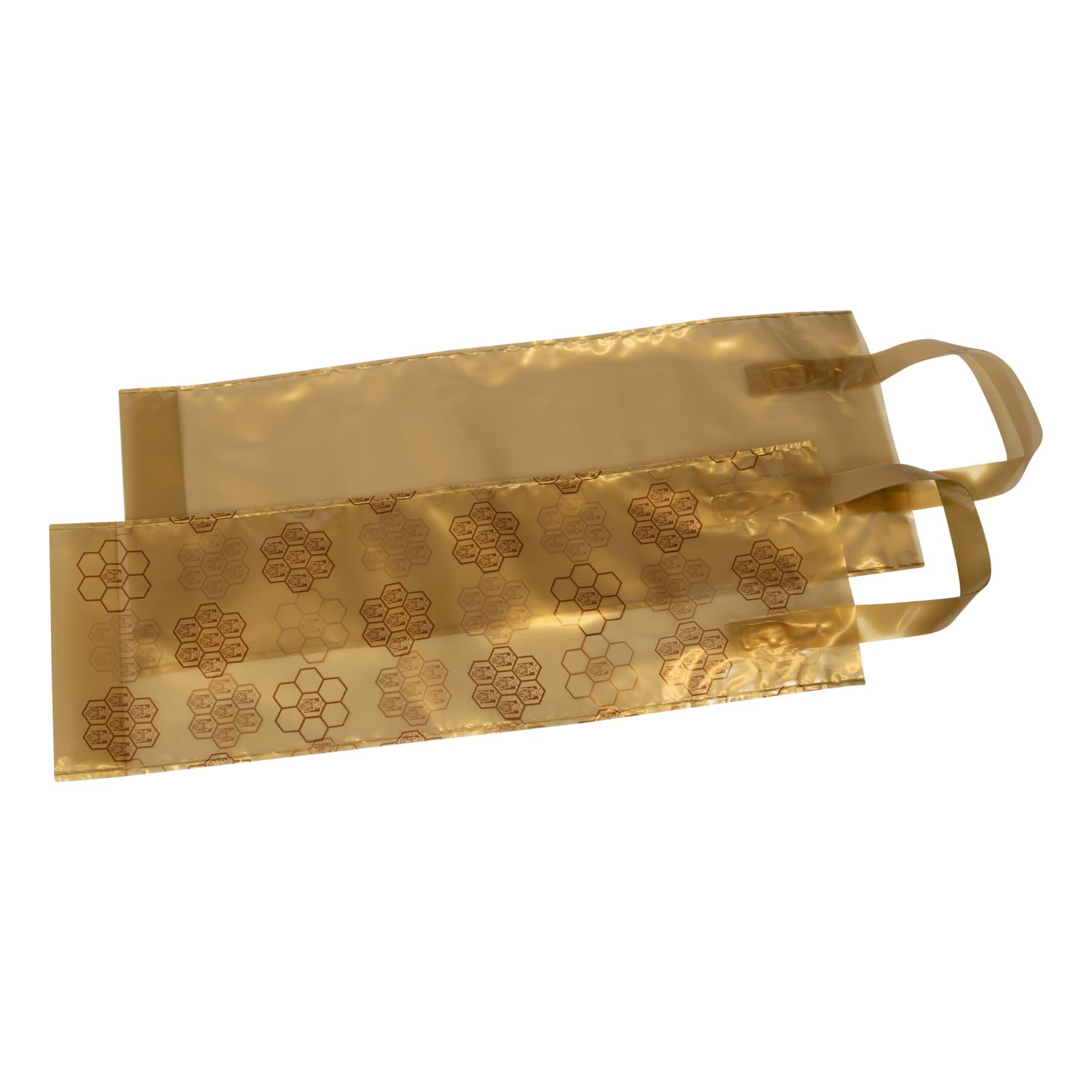 Geschenkbeutel 25 St. für 1 Flasche 0,75 l dekorativer PE Beutel mit Wabenmuster verziert, Variante gold