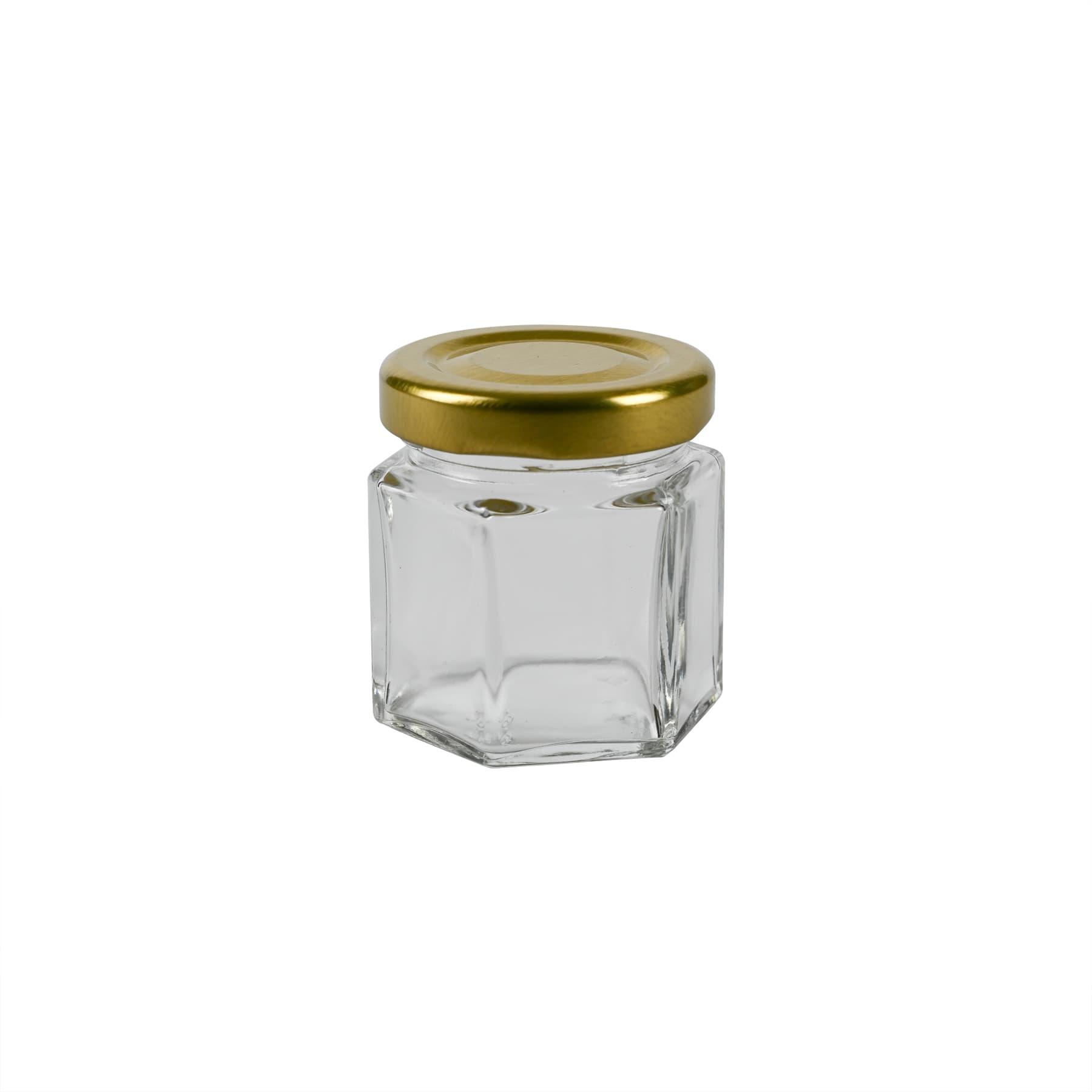 Sechseckglas 45 ml mit TO Metalldeckel gold 43 mm