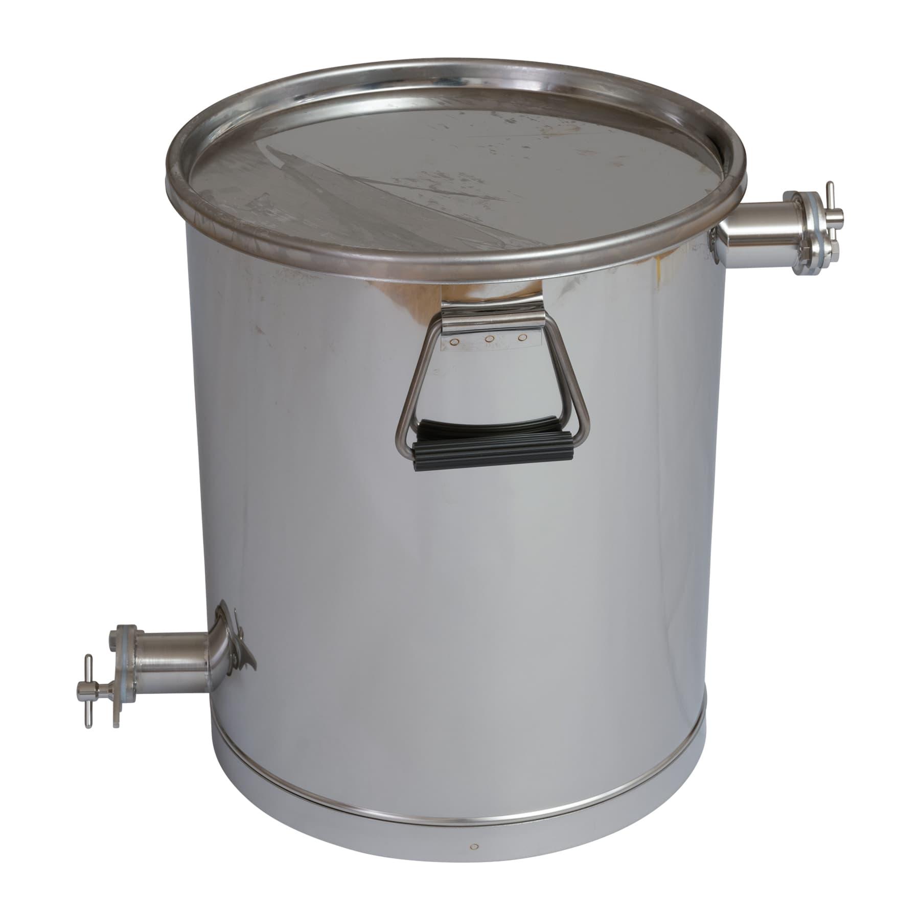 Siebbehälter bzw. Abfüllbehälter mit 2. Hahn oben 35 kg und Auflagedeckel