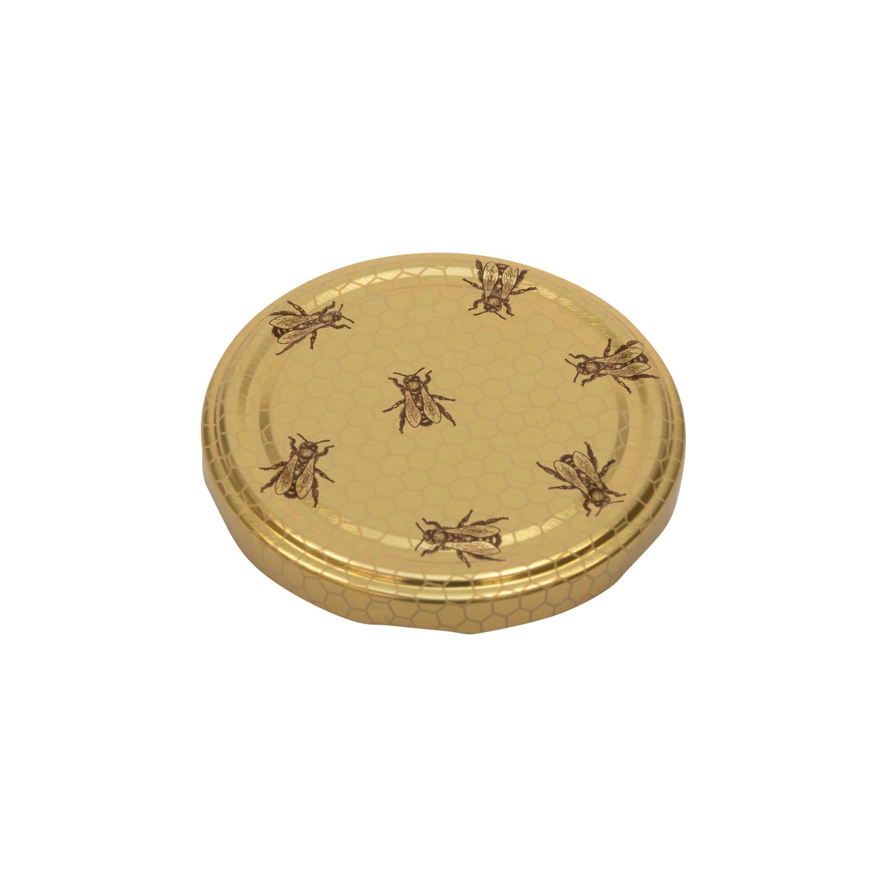 Twist  Off Deckel 82 mm gold mit Wabenmuster und kleinen Bienen