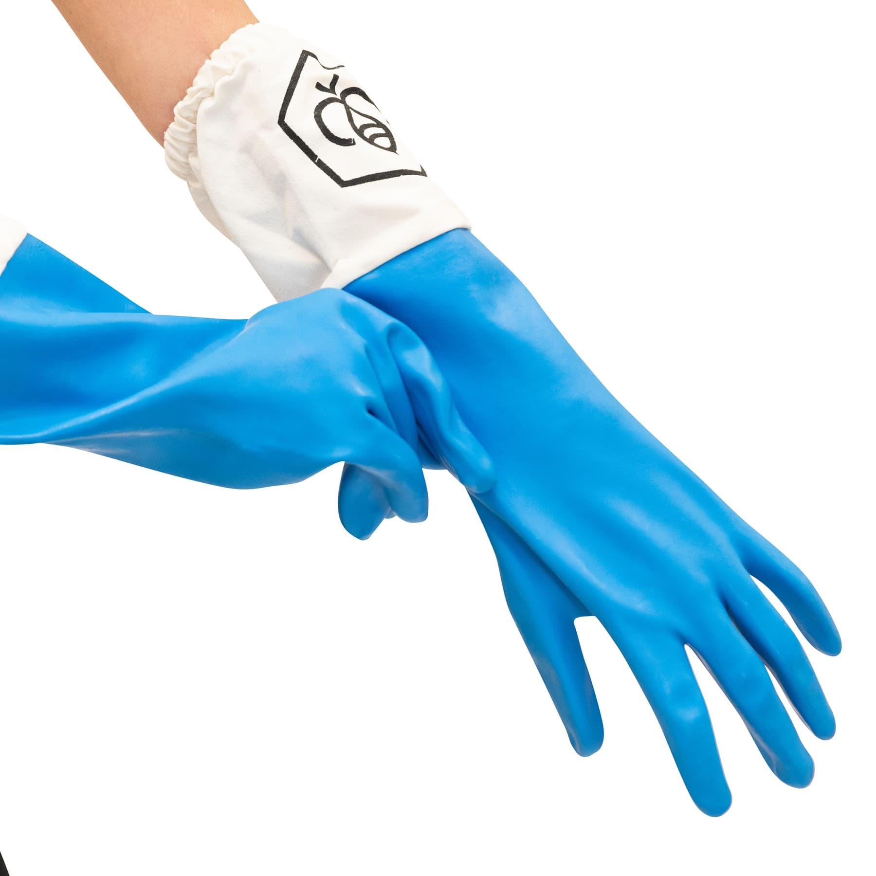 Gummihandschuhe hellblau mit Stulpe Gr. 8 (S)