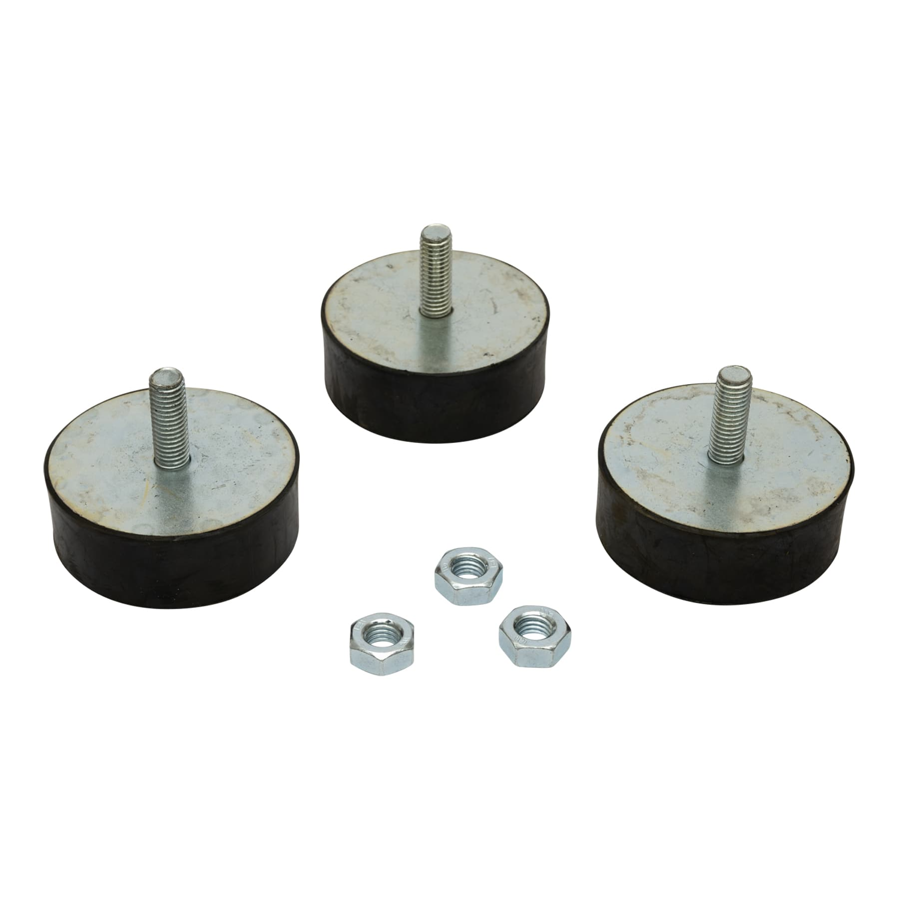 Schleuderfüße 70 mm x 25 mm aus Hartgummi mit Muttern M10 1 Satz a 3 Stück, auch Gummipuffer genannt